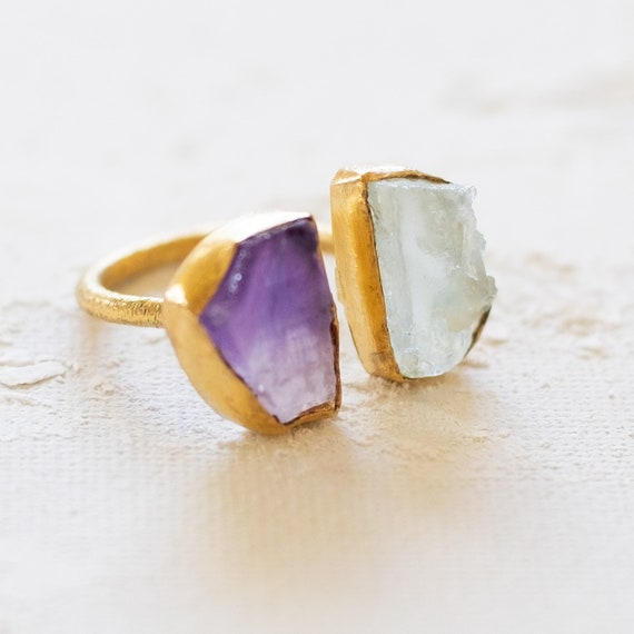 Raw Uncut Gemstone Amethyst and Aquamarine Adjustable  Ring