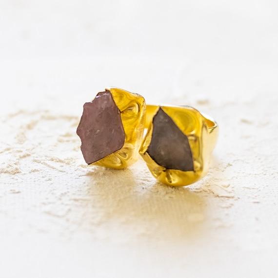 Raw Gemstone Adjustable  Ring in double rose quartz