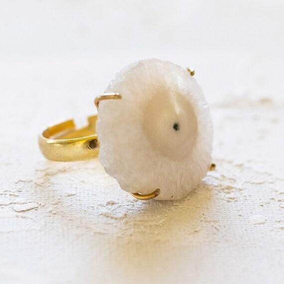 White Solar Adjustable Ring