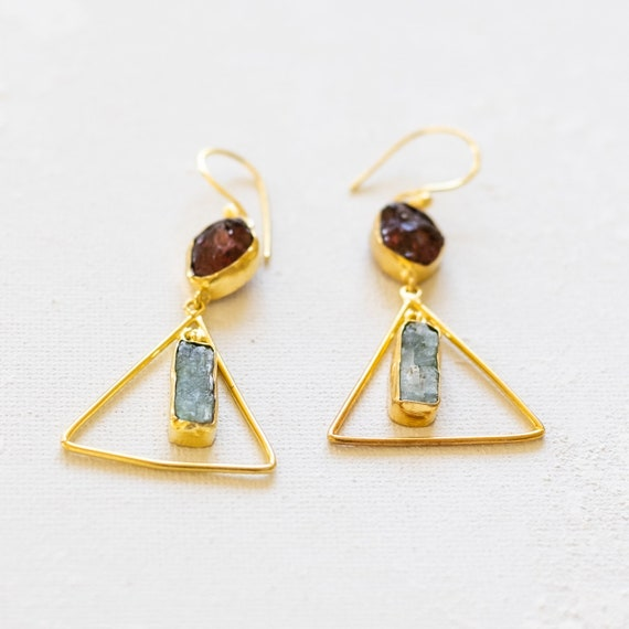 Gold Hoop Earrings with Garnets and Kyanite
