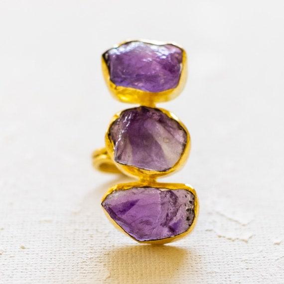 Raw Gemstone trio of Amethyst Adjustable  Ring, festival rings, coachella rings, raw rough gemstone ring