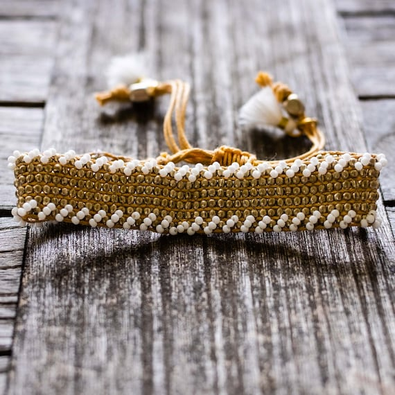 White Beaded Woven Cuff Bracelet with Tassels