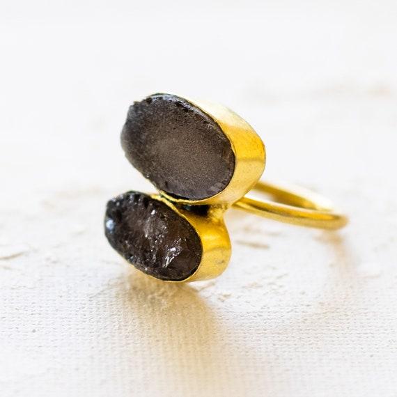Raw Uncut Gemstone Smokey Quartz Adjustable  Ring