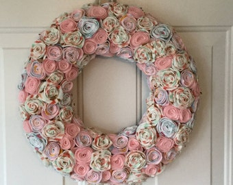 Pastel Wreath, Flower Wreath, Pastel Nursery Decor, Pastel Gift, Baby Wreath, Wall Wreath, Baby Girl Gift Ideas, Nursery Decor Baby Girl