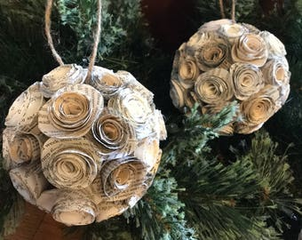 shabby chic christmas ornaments shabby chic christmas decorations paper flower ornament shabby chic christmas tree christmas ornament - Chic Christmas Decorations