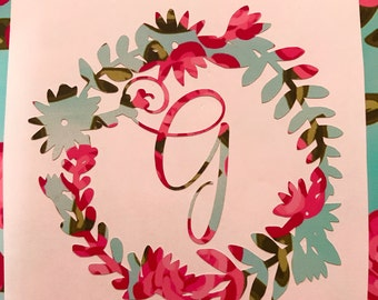 Floral wreath monogram, Floral wreath decal, Floral wreath yeti decal, Free Shipping