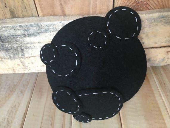 5a00ddf761e19 BLACK STITCHEY luxurious wool felt fascinator. Black with
