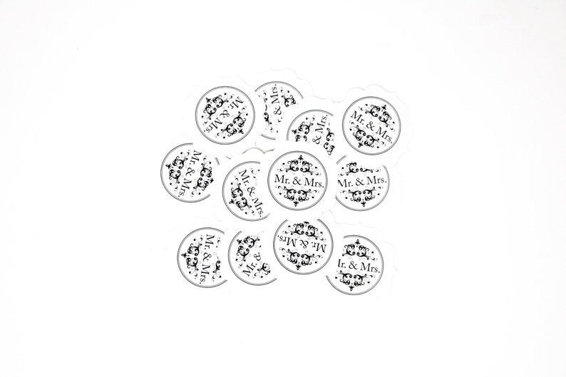 12 PCS Mr /& Mrs Round Diecut Embellishment and More Embellishment Wedding Sticker Confetti Party Favor Wedding decor