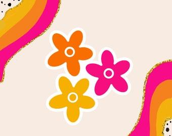 Colorful Flower Sticker   Happy Sticker   Weatherproof Sticker   Vinyl Sticker   Cute Sticker