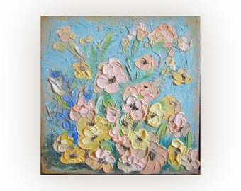 floral textured acrylic painting, wild flowers original acrylic painting, small contemporary artwork, floral original wall decor