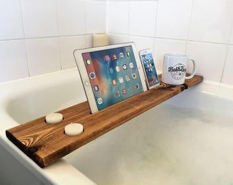 Wooden Bath Caddy Tray Reclaimed Solid Wood Bath Shelf Wine Tablet Mobile Phone Holder Dark Oak