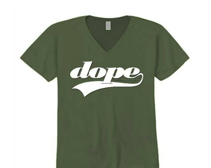 Womens v-neck t-shirt, athletic swirl 'Team Dope' graphic-assorted colors (sizes Sm-4X)
