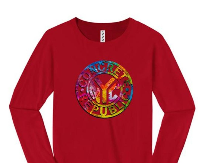 Womens Graffiti/Hip Hop inspired long sleeve t-shirts 'Subway Token' graphic-assorted colors (sizes Sm-4X)