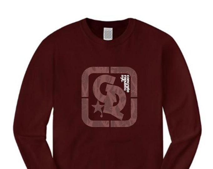Mens long sleeve streetwear/graffiti tee, 'Primo' Concrete Republic logo graphic (sizes Sm-4XL)