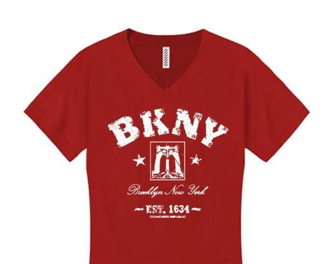Womens v-neck Retro 'Da Bridge' BKNY (Brooklyn, New York) Vintage Style Graphic Tee-Urban, Trendy (sizes Sm-4X)