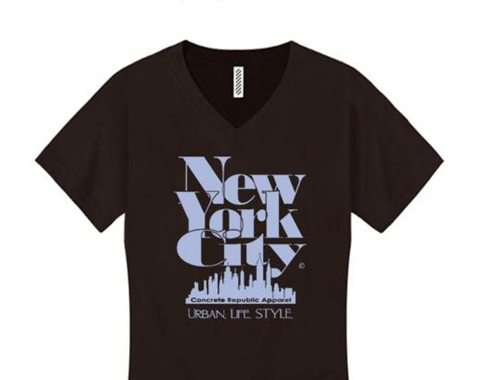 Women's v-neck New York City 'Grand Royal' graphic T-Shirt-Modern, stylish, sleek (sizes Sm-4X)