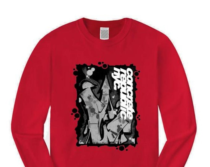 Mens long sleeve graffiti/hip hop tee, 'Nuclear Fusion' graffiti graphic (sizes Sm-4XL)