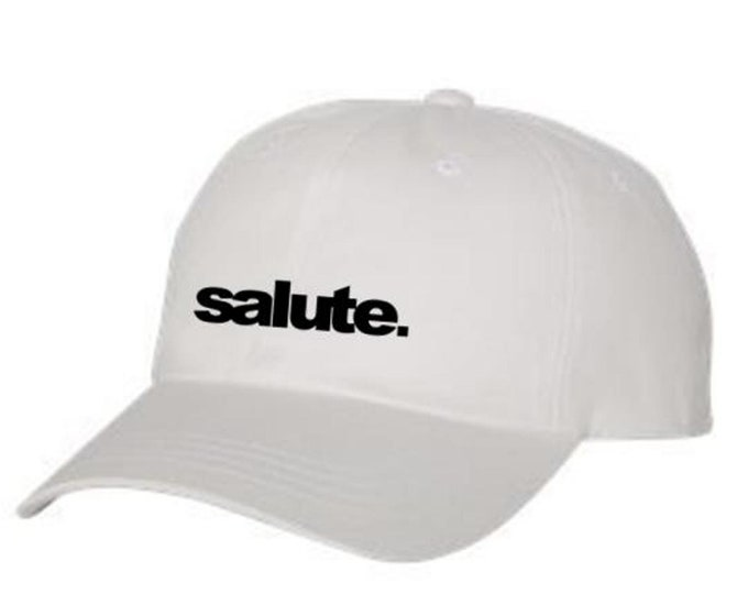 Classic Dad Hats, Embroidered, Modern-Style 'SALUTE' graphic, 100% Chino Twill Cotton, adjustable strap, black, white, beige, blue-Unisex