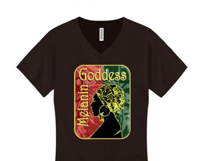 Afrocentric, Women's v-neck 'Melanin Goddess' African art style graphic (sizes Sm-4X)