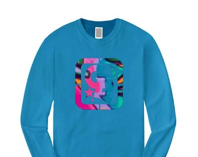 Womens fashionable long sleeve t-shirts, 'Picasso' graffiti style Concrete Republic logo graphic (sizes Sm-4X)