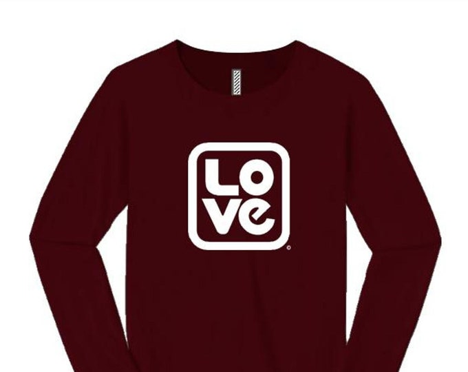 Womens long sleeve t-shirt: 'Love, Squared' modern style graphic-assorted stylish colors (sizes Sm-4X)