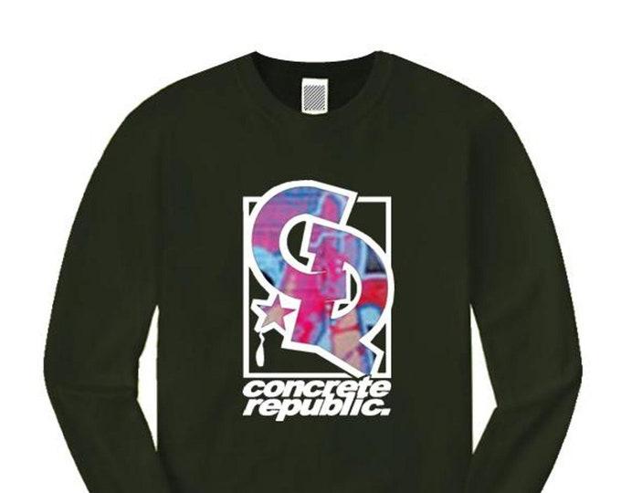 Mens long sleeve hip hop/graffiti tee, 'Phaze 2' street art style logo graphic (sizes Sm-4XL)