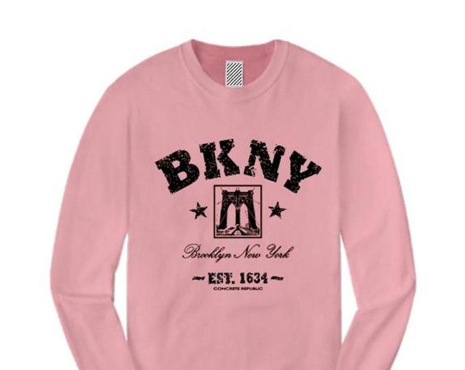 Womens long sleeve Retro 'Da Bridge' BKNY (Brooklyn, New York) Vintage Style Graphic Tee-Urban, Trendy (sizes Sm-4X)