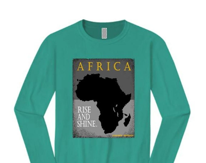 Afrocentric, Women's African art long sleeve tee, Motherland graphic (sizes Sm-4X)