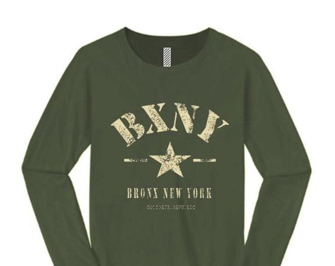 Womens long sleeve 'Urban Soldier' BXNY (Bronx, New York) Vintage Military Style Tee-Urban, Trendy (sizes Sm-4XL)