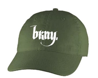 Dad Hats, Embroidered 'Goth' style BKNY (Brooklyn, New York) graphic, 100% Chino Twill Cotton, adjustable strap, army green, beige, blue