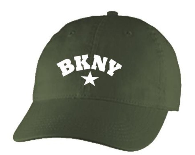 Classic Dad Hats, Embroidered, Modern 'BKNY' (Brooklyn, New York) graphic, 100% Chino Twill Cotton, adjustable strap, black or white, unisex
