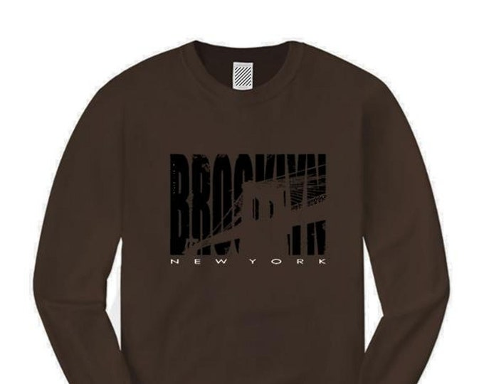 Mens Brooklyn NYC graphic long sleeve t-shirt 'Inside Job' silhouette style graphic (sizes Sm-4X)