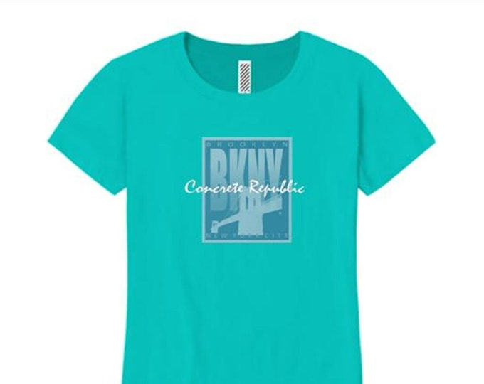 Women's 'Art Deco' style Brooklyn, New York (BKNY) graphic tees (size Sm-4X)