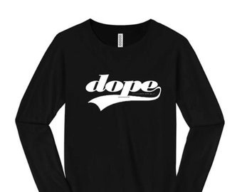 Womens long sleeve t-shirts, athletic swirl 'Team Dope' graphic-assorted colors (sizes Sm-4X)