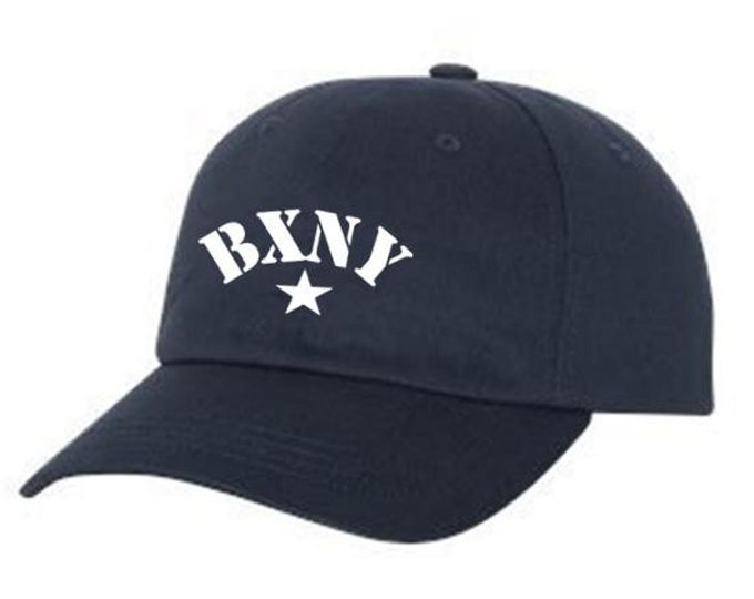 Classic Dad Hats, Embroidered, Modern 'BXNY' (Bronx, New York) graphic, 100% Chino Twill Cotton, adjustable strap, black or white, unisex