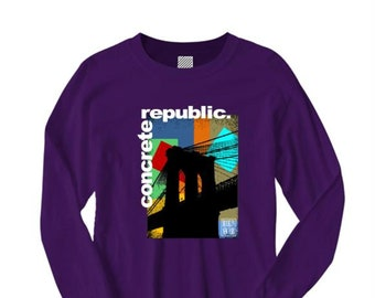 Mens long sleeve Brooklyn Bridge graphic crew neck t-shirt 'Pop Life' mural style graphic (sizes Sm-4XL)