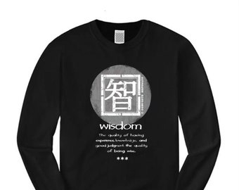 Wisdom, Mens long sleeve Asian-Inspired urban graphic t-shirt (sizes Sm-4XL)