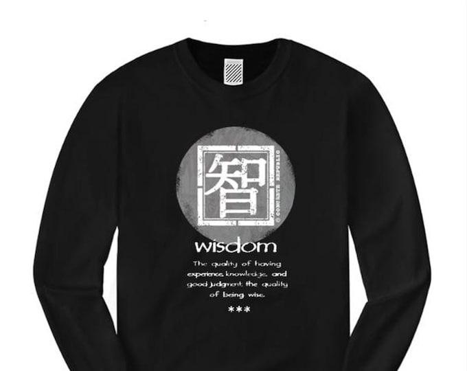 Wisdom, Mens long sleeve Asian-Inspired urban graphic t-shirt (sizes Sm-4XL)