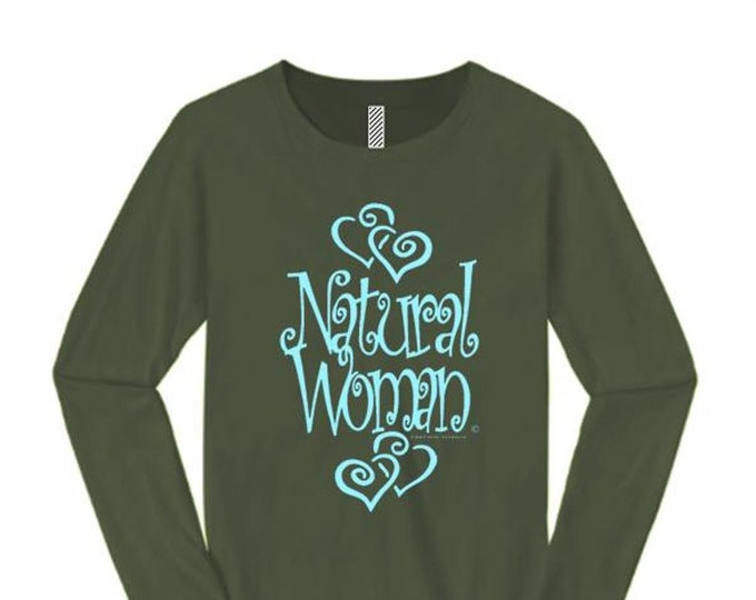 "Women's inspirational long sleeve tees ""Natural Woman"" graffiti tag style graphic (sizes Sm-4X)"
