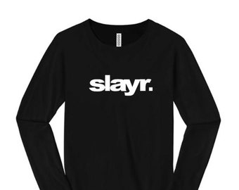 Women's trendy fashion long sleeve t-shirts, urban slang 'SLAYR.' (slayer) modern style graphic (size Sm-4X)