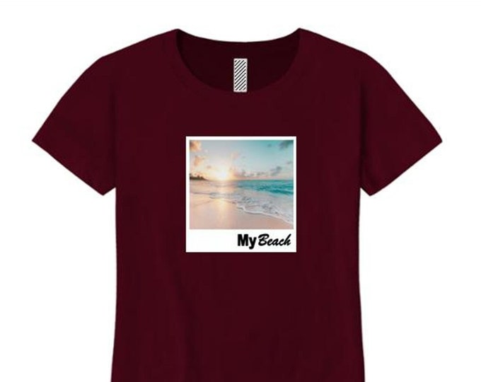 Womens College Humor/Funny crew neck t-shirt My 'Beach' graphic-assorted colors (sizes Sm-4X)