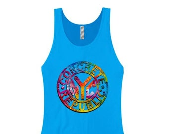 Womens Graffiti/Hip Hop inspired tank tops 'Subway Token' graphic-assorted colors (sizes Sm-3X)