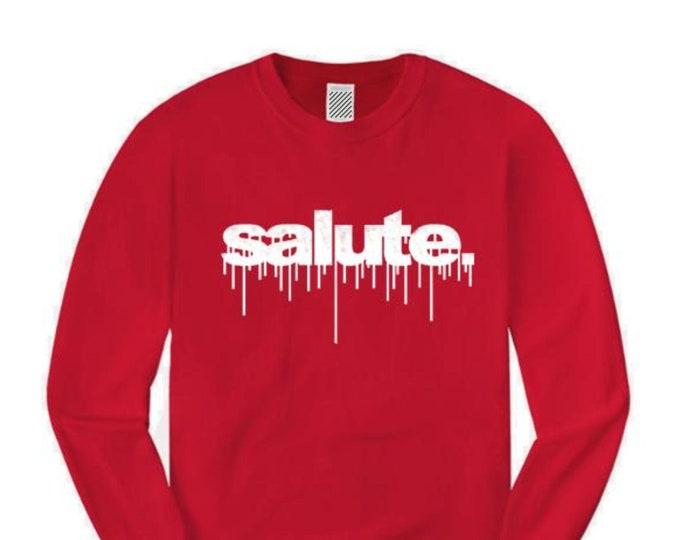 Mens long sleeve graffiti/hip hop tee, 'Salute' dripping ink style graffiti graphic (sizes Sm-4XL)
