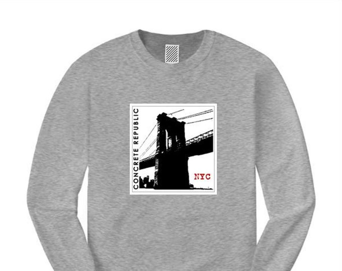 "Mens Brooklyn Bridge long sleeve t-shirts ""INK"" ultra modern/minimalist style graphic (sizes Sm-4XL)"
