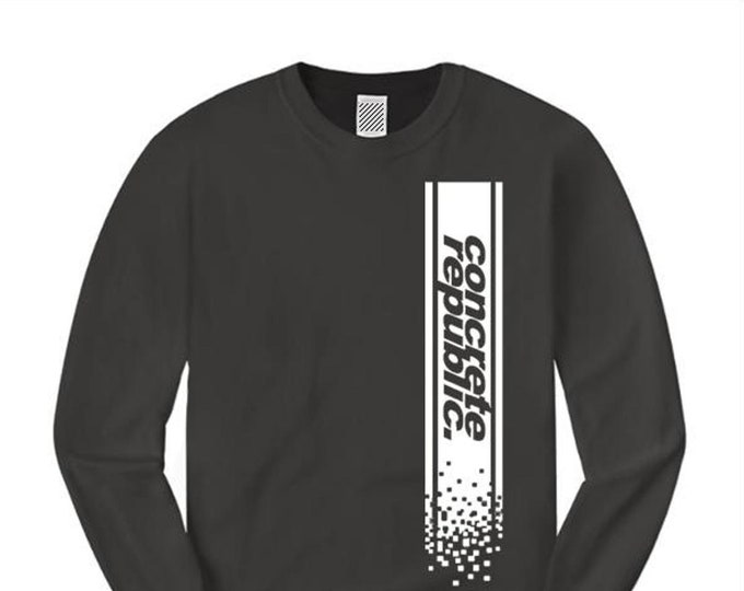 Mens long sleeve urban fashion Tee 'DigiTech' vertical graphic (sizes Sm-4XL)