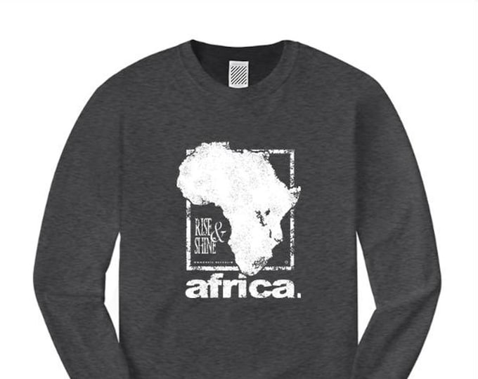 Mens long sleeve Afrocentric fashion tees 'Africa Nouveau' modern, urban style graphic collection (sizes Sm-4XL)