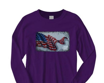 Mens long sleeve American Flag Tshirt 'Resilience' graphic (sizes Sm-4XL)
