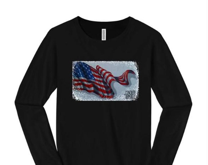 Women's American Flag Graphic long sleeve T-shirts, 'Old Glory' (sizes Sm-4X)