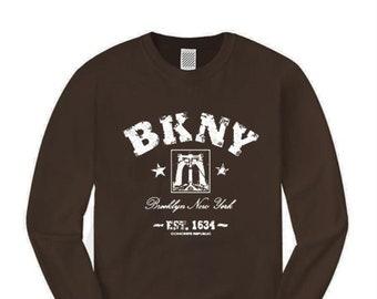 Mens long sleeve Retro 'Da Bridge' BKNY (Brooklyn, New York) Vintage Style Graphic Tee-Urban, Trendy (sizes Sm-4XL)