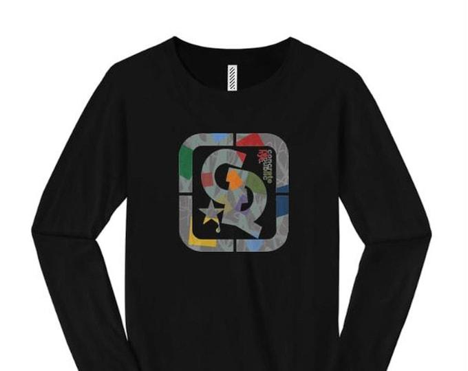Womens fashionable long sleeve t-shirts, 'Confetti' graffiti style Concrete Republic logo graphic (sizes Sm-4X)